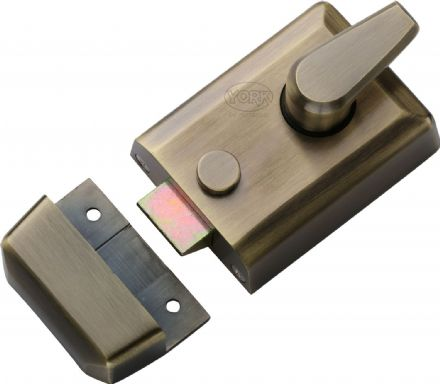 M Marcus York Security NL3060-AT Cylinder Rim Nightlatch 60mm  Antique Brass